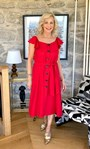 Button Through Midi Dress Racing Red - Gallery Image 1