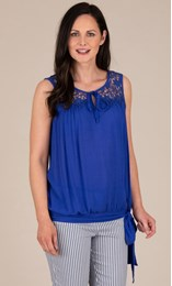 Sleeveless Embroidered Crinkle Top
