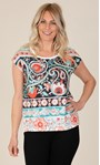 Printed Embellished Jersey Top Red Multi - Gallery Image 1