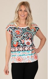 Printed Embellished Jersey Top