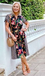 Floral And Animal Printed Midi Shirt Dress
