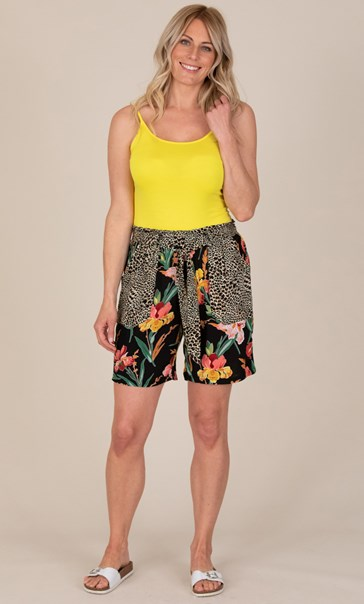 Animal And Floral Print Belted Shorts
