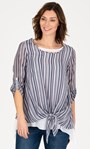 Double Layer Striped Dipped Hem Tunic White/Blue - Gallery Image 1