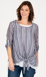 Double Layer Striped Dipped Hem Tunic