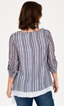 Double Layer Striped Dipped Hem Tunic White/Blue - Gallery Image 2