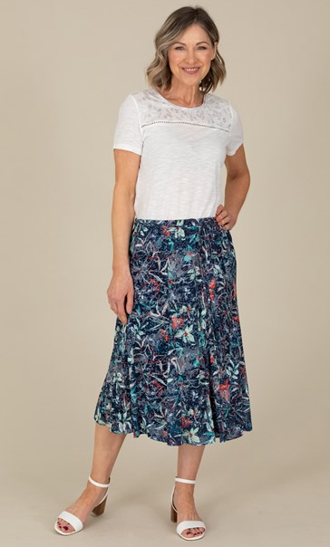 Anna Rose Botanical Print Pull On Midi Skirt Navy/Orange/Multi