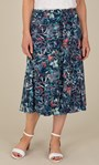 Anna Rose Botanical Print Pull On Midi Skirt Navy/Orange/Multi - Gallery Image 2