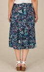 Anna Rose Botanical Print Pull On Midi Skirt Navy/Orange/Multi - Gallery Image 4