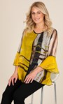 Printed Layered Georgette And Jersey Top Sunflower/Black - Gallery Image 1