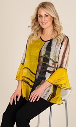 Printed Layered Georgette And Jersey Top