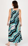 Printed Sleeveless Smocked Maxi Dress Navy/Pacific Blue - Gallery Image 2