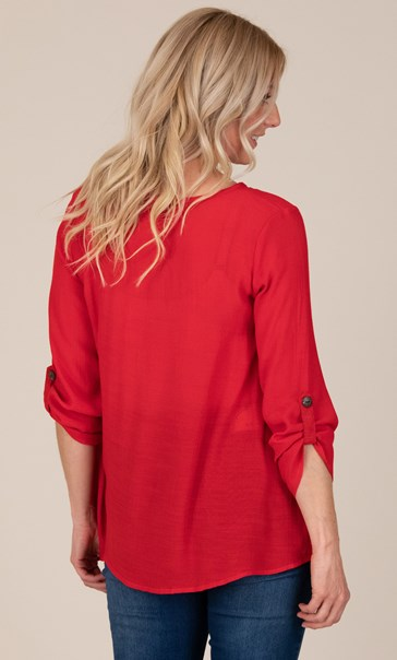 Oversized Crinkle Tunic - Red