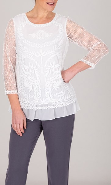 Anna Rose Embroidered Mesh Layered Top White