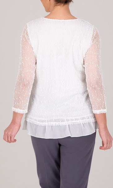 Anna Rose Embroidered Mesh Layered Top