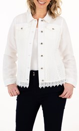 Anna Rose Lace Trim Button Jacket