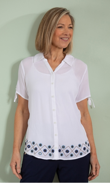 Anna Rose Embroidered Crinkle Crepe Blouse White/Navy/Multi