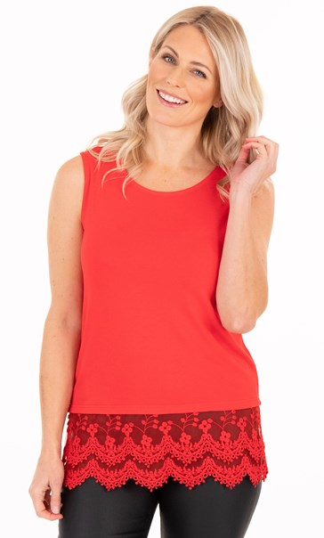 Lace Trim Sleeveless Jersey Top - Red