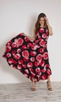 Floral Printed Sleeveless Maxi Dress With Belt Black/Red - Gallery Image 1