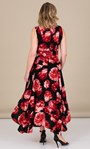 Floral Printed Sleeveless Maxi Dress With Belt Black/Red - Gallery Image 3