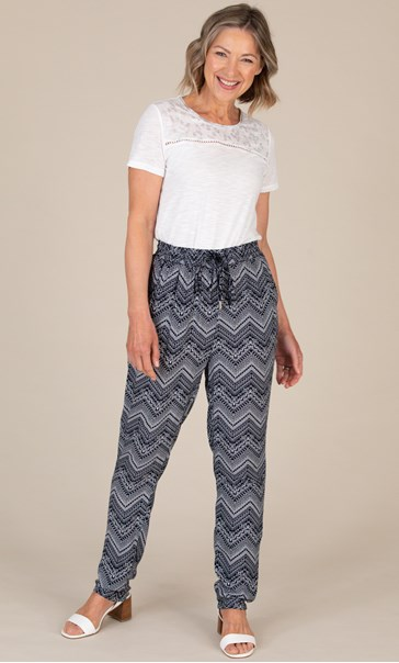 Anna Rose Pull On Printed Tapered Trousers Navy/White