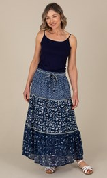 Anna Rose Pull On Printed Cotton Maxi Skirt