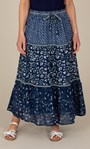 Anna Rose Pull On Printed Cotton Maxi Skirt Blue Multi - Gallery Image 2