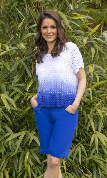 Ombre Textured Short Sleeve Jersey Top Blue/White