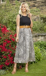 Belted Animal Print Sleeveless Maxi Dress