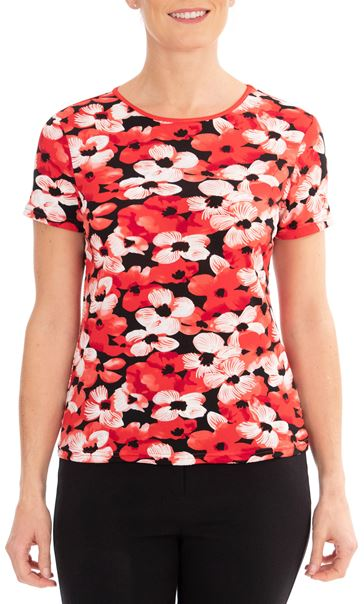 Anna Rose Floral Print Top Red/Black