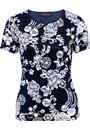 Anna Rose Lace Printed Short Sleeve Top Midnight/Ivory - Gallery Image 3