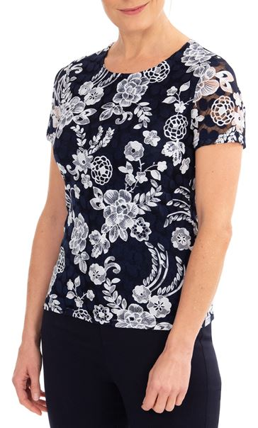 Anna Rose Lace Printed Short Sleeve Top Midnight/Ivory