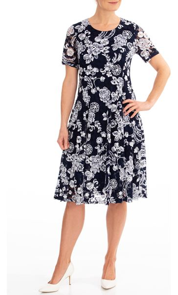 Anna Rose Printed Lace Dress Midnight/Ivory