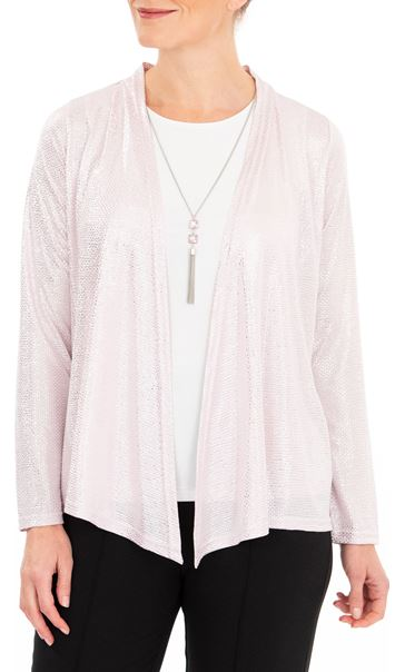 Anna Rose Two Piece Top Set With Necklace Pink/Silver
