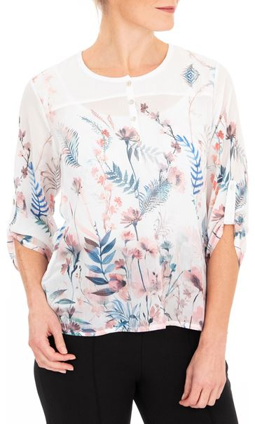 Anna Rose Embellished Floral Print Top White/Coral