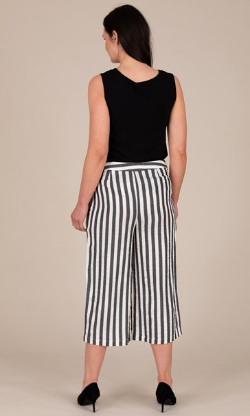 Cotton Blend Wide Leg Striped Cropped Trousers
