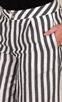 Cotton Blend Wide Leg Striped Cropped Trousers Black/White - Gallery Image 3