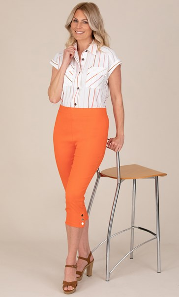 Cropped Pull On Stretch Trousers Orange