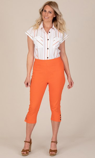 Cropped Pull On Stretch Trousers - Orange
