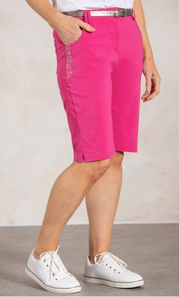 Anna Rose Belted Shorts - Pink Multi