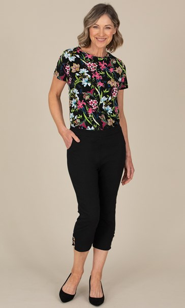 Anna Rose Cropped Embellished Trousers - Black
