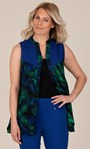 Embroidered Sleeveless Leaf Print Tunic Sapphire/Emerald/Navy - Gallery Image 1