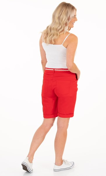Cotton Blend Belted Shorts - Racing Red