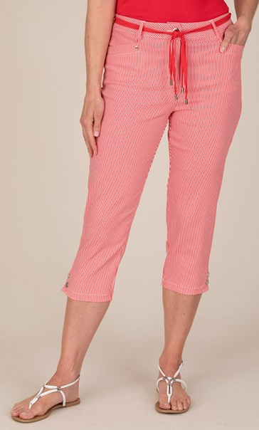 Striped Cropped Trousers - Red/White