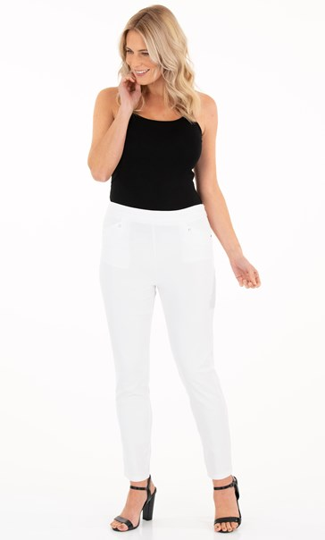 Fitted Full Length Stretch Trousers White