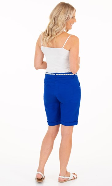 Cotton Blend Belted Shorts - Sapphire
