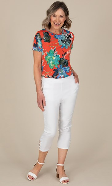 Anna Rose Cropped Embellished Trousers White