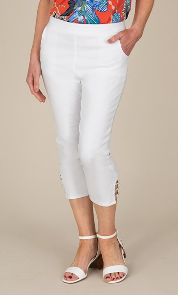 Anna Rose Cropped Embellished Trousers - White