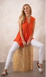 Lace Trim Sleeveless Button Top