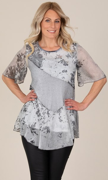 Printed Patchwork Short Sleeve Top White/Grey