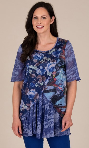 Floral Printed Layered Chiffon and Jersey Top Blue